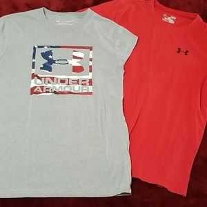 2 under Armour tshirts youth large ylg